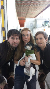 Torrance Coombs, Celina Sinden and Jonathan Keltz with Partout the dog by Marilla Wex