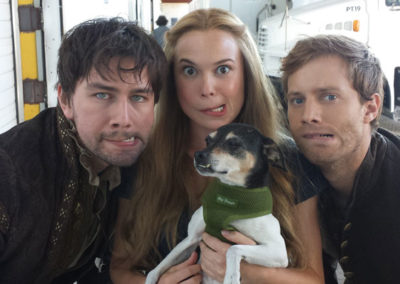 Torrance Coombs, Celina Sinden and Jonathan Keltz with Partout the dog